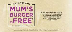 Mum's Burger is free at Handmade Burger Co on 15th March