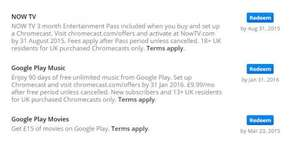 Free £15 Google play credit with chromecast offers