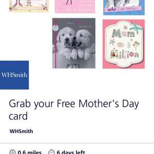 Free Mother's Day card from Wh smith on O2 priority moments