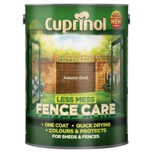 ** Half Price on Cuprinol Less Mess 5L Paint now £5 @ Tesco Direct **