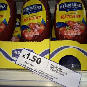 Hellmans ketchup 750ml for £1.50 in tesco