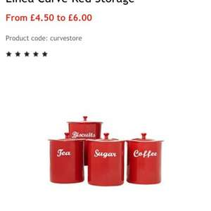 Linea Curved Red Storage Set £4.50 for tea, coffee and sugar canisters.£6.00 for biscuit canister from House Of Fraser