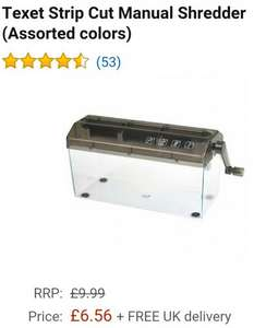 Texet manual strip cut shredder £6.56 free delivery Dispatched from and sold by CuratedUK / Amazon