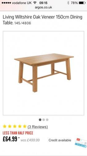 Living Wiltshire Oak Veneer 150cm Dining Table @ Argos £64.99