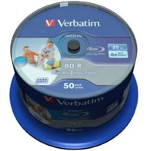 Verbatim 43812 BD-R SL 25GB Datalife 6x Inkjet Printable (Pack of 50) - £22.95 @ Amazon