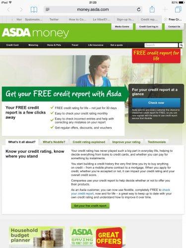 Free credit report for life via ASDA MONEY