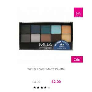 MUA Winter Sale. Items are 50% off or more online