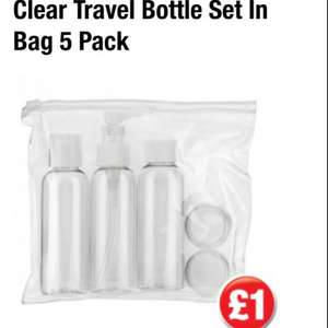100ml travel bottles in see through bag, meets airport security rules on hand luggage. £1.00 at poundland