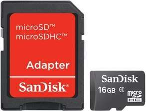 SanDisk 16GB Micro SDHC Class 4 Memory Card with Adapter £4.74 @ gizzmoheaven