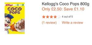 Kellogg's Coco pops 800g only £2.50 @ Sainsburys from tomorrow