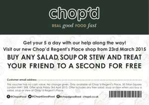 BOGOF Salad, Soup or Stew at Chop'd Regents Place (London)