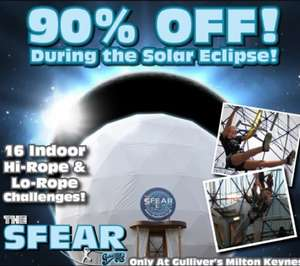 90% off during solar eclipse at the SFEAR at gullivers kingdom £1.50 with code (Tickets on sale Friday AM)
