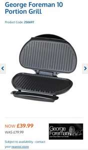George Foreman 10 Portion Family Size Grill only £39.99 at B&M!