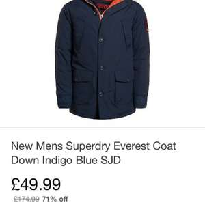 New Mens Superdry Everest Coat Down Indigo Blue SJD eBay outlet £49.99