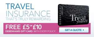 Debenhams Travel insurance- Single Trip £5 voucher £4 Quidco/Annual £10 voucher £6 Quidco!