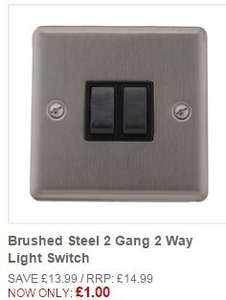 Brushed Steel 2 Gang 2 Way Light Switch (and other variants). CLEARANCE. Was £13.99 now £1.00 @ This is it
