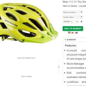 Bontrager Quantum high visibility helmet for men at £29.99 and a further 5% discount with the code 'mother5'. Alternatively like them on Facebook during the checkout  to get £1 discount. Besides, clearance sale on helmets at Triton cycles