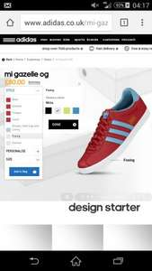 Mii Adidas Gazelle Custom made £66 using discount code at Adidas