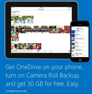 15GB Standard turn on camera roll, get 15gb extra giving total of 30gb of ONE DRIVE STORAGE