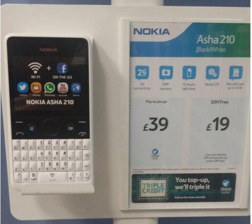 Nokia Asha 210 Sim Free mobile Phone £19.00 Instore / online Tesco