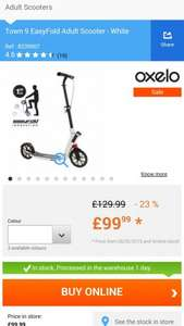Oxelo Town 9 EasyFold Adult Scooter - White - Decathlon - £99.99