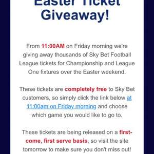 Football league tickets free via sky bets