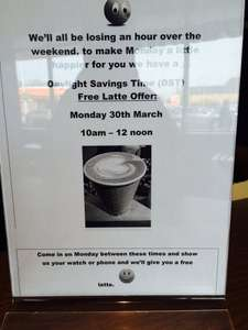 Free Starbucks Latte - Monday 30th March, 10am to 12 noon (no purchase necessary)