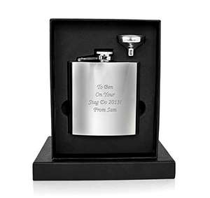 Just seen this... Personalised 6oz Hip Flask - your message engraved free, Birthday, Wedding, Anniversary Gift maybe or Fathers Day coming up £6.00 delivered free at Amazon/Gift Cookie