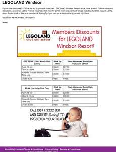Legoland  Windsor discounted ticket prices if you are a member of raring2go