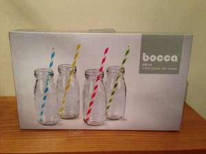 Bocca 250ml Retro Drinking Milk Bottle with straws £1.59 @ Home Bargains