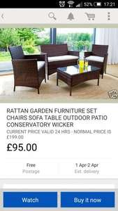 rattan garden furniture £95 @ eBay via ijinteriors.