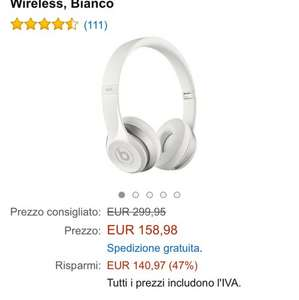 White Beats Wireless Solo 2 @ Amazon.it £120