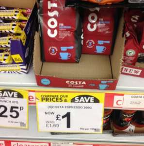 Costa ground Espresso coffee - 200g - £1.00 @ Poundstretcher