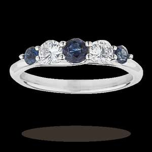 5-Stone Sapphire and 0.33 Total Carat Diamond Engagement Ring in 18 carat White Gold band - WAS £1,600 // NOW £480 - Goldsmiths