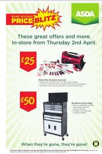 ProWorks Tool Chest £50 @ ASDA instore from Thurs 2nd April