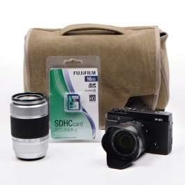 Fuji X-E1 in Black or Silver with 16-50mm 50-230mm (Refurb with 12 month warranty), Bag and SD card, £346.97 @ fujifilm
