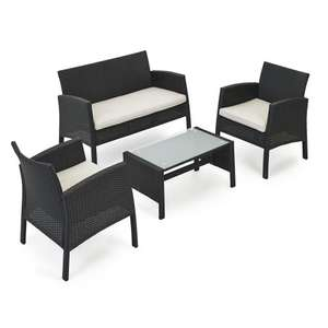 Rattan Lounge Set Black £150 @ Wilko