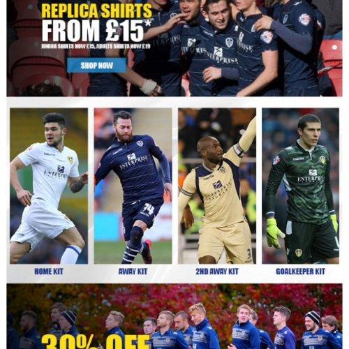 Leeds United football kits and training wear from £15 @ Leeds Utd Store