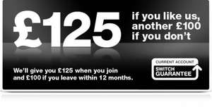First Direct Bank now offering £125 to switch your current account to them and £100 to leave if you don't likey, also £25 cash added to your account when you take out their Credit Card