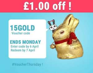 FREEBIE... Enter 15GOLD for £1 off Lindt Gold Milk Chocolate Bunny. £1.00 @ Tesco, Asda & Sainsbury's = FREE via Shopitize App...