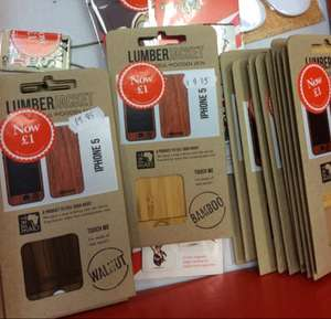 Real Bamboo/Walnut/Oak/Cherry skin for iPhone 5 £1 at Waterstones