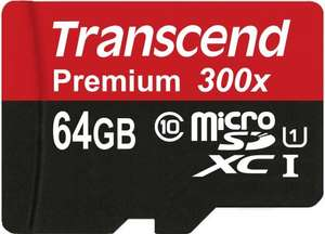 64GB Transcend Premium microSDHC Class 10 UHS-I SD Card £17.75 @ Amazon