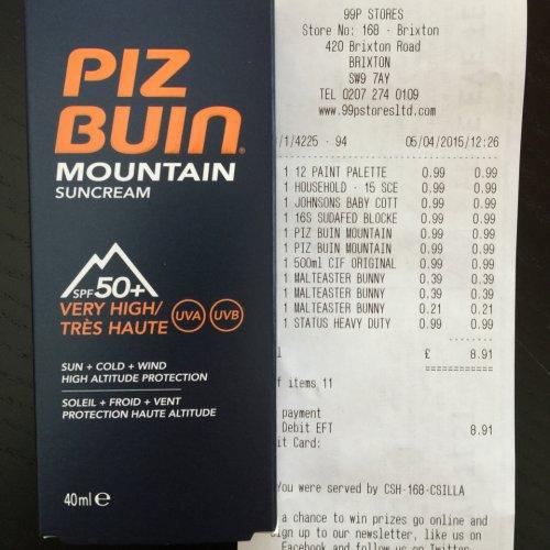 Piz Buin Mountain suncream 50+ £0.99 @ 99p stores