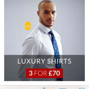 Savile Row Shirts 3 for £70 plus 22% off