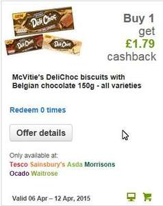Buy McVities Deli-Choc biscuits: get £1.79 Quidco ClickSnap cashback - eg potentially 2 packs & 11p in pocket @ Ocado