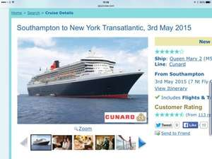 Transatlantic cruise on the queen mary 2 £499 @ iglu cruise