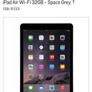 iPad air Wifi 32gb in Silver/Space Grey £359 @ Argos