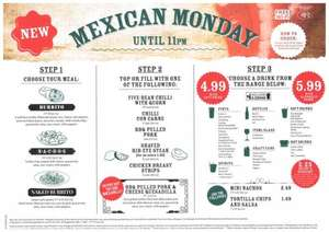 New Wetherspoons Club Night - Mexican Monday - Burrito, nachos or naked burrito, plus topping or filling, with soft drink £4.99 or with alcoholic drink £5.99 - ALL DAY