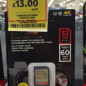 Sandisk extreme 32gb sd card £13.00 @ Tesco instore