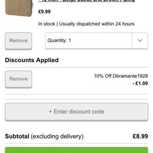 Dbramante1928 leather netbook case 11-12 inch Beige Suede and Brown Piping only £8.99 at Zavvi reduced from £49.99
